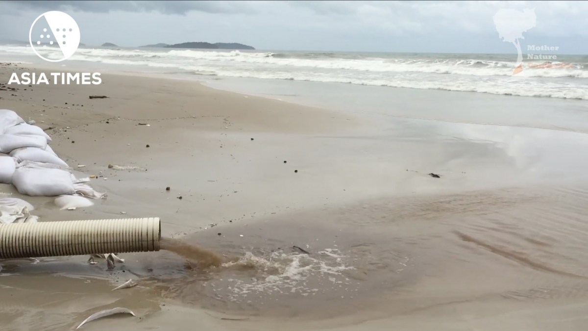 One of the many sewage and drainage pipes on what used to be one of Cambodia's nicest beaches. Photo: YouTube
