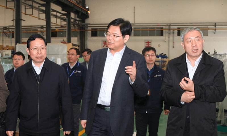 CSIC general manager Sun Bo, center, was last seen visiting a subsidiary of the shipbuilding giant on June 11. Photo: CSIC