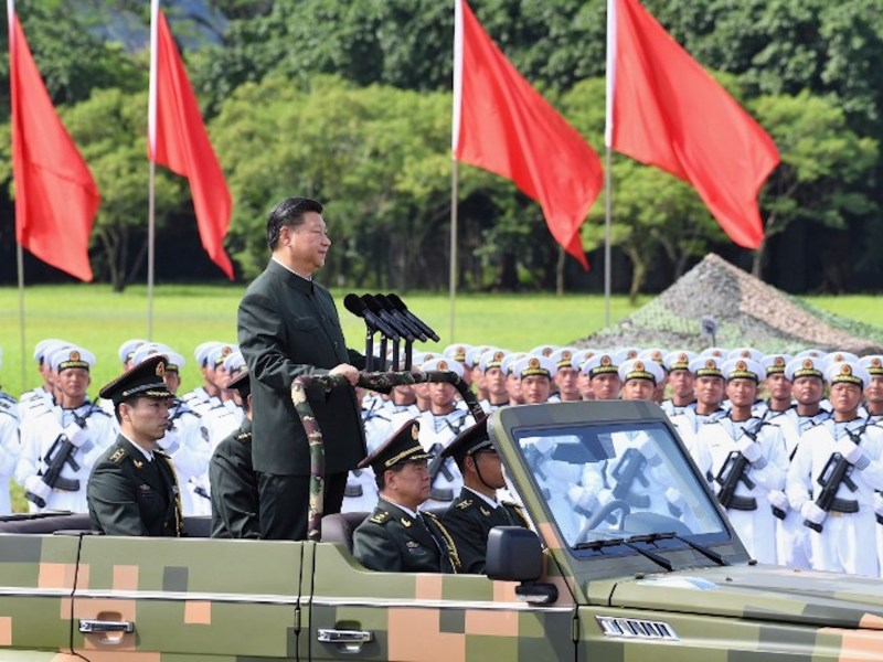 China's President Xi Jinping inspecting the troops of the People's Liberation Army. Photo: AFP