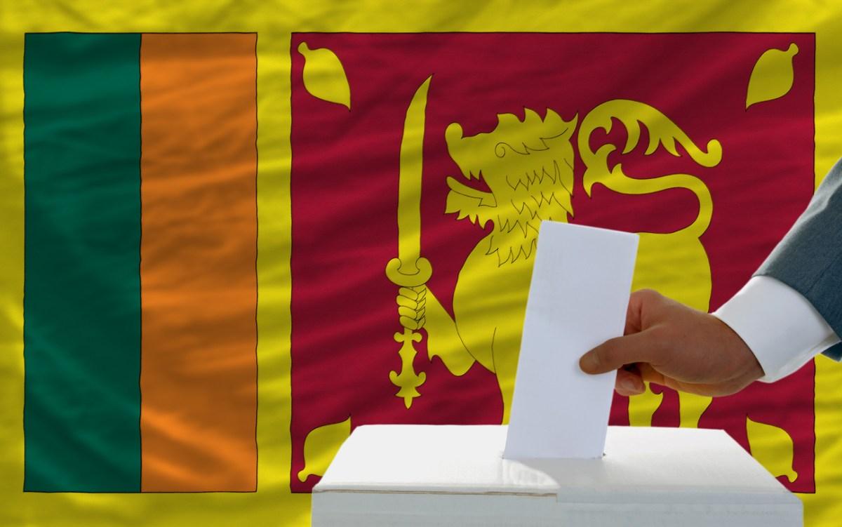 Sri Lanka ballot box and flag. Image: iStock