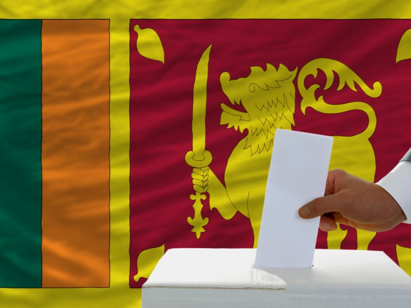 Sri Lanka ballot box and flag. Image: iStock