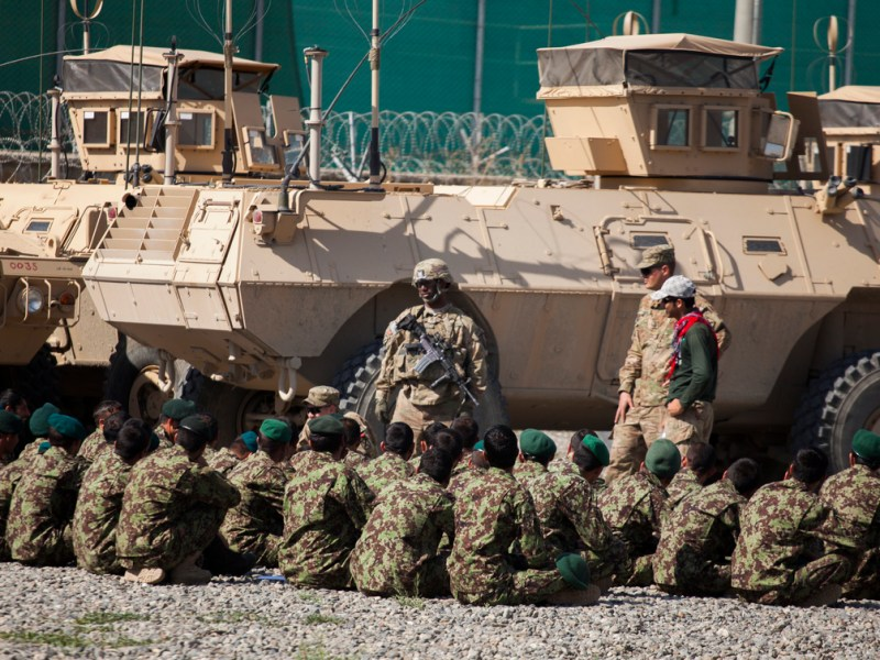 Afghan National Army (ANA) Soldiers, belonging to the 1st MSF (Mobile Strike Force) prepare to participate in a class taught by US Soldiers and contractors.