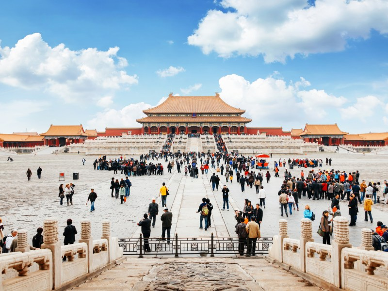 The entrance to the forbidden city in Beijing, China. Lots of tourists gather front of the temple. Photo: iStock