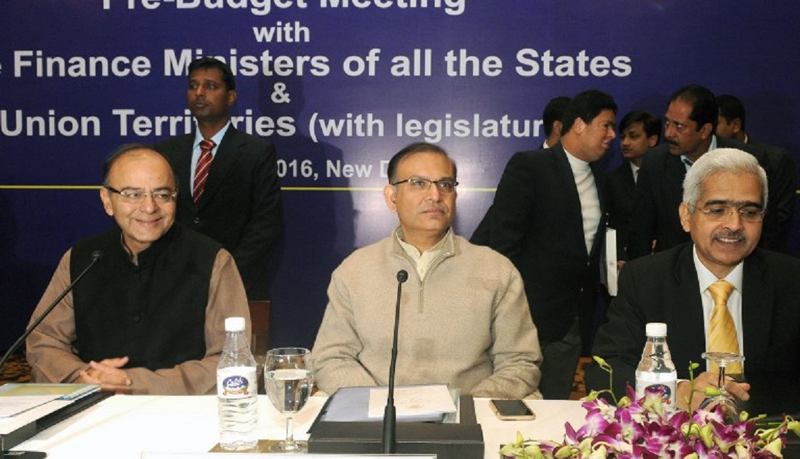 Shaktikanta Das (right) along with Civil Aviation Minister Jayanth Sinha (middle) and Finance Minister Arun Jaitley (left): AFP