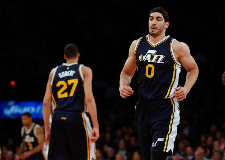 Enes Kanter (0) of the Utah Jazz during an NBA game against New York Knicks at Madison Square Garden on November 14, 2014 in New York City. Cem Ozdel / Anadolu Agency