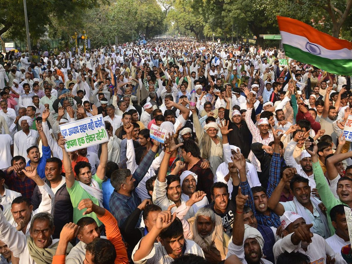 Members of the upper caste Jaat community gather in Delhi to demand a greater quota in education and government jobs in New Delhi. Photo: Ramesh Sharma / India Today Group