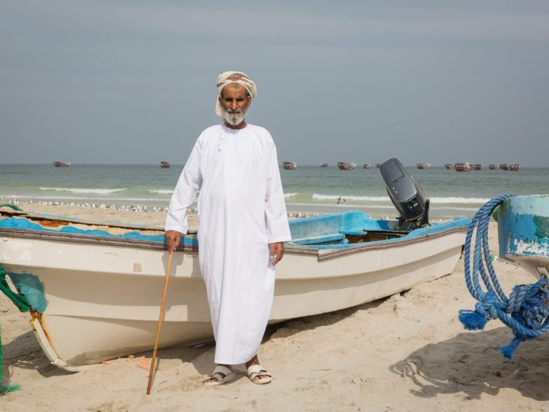 Althebeeb Hamad Al Gunibi, 70, head of the fishermen's union on the shore of the Arabian Sea in Duqm, Oman. Photo: Sebastian Castelier