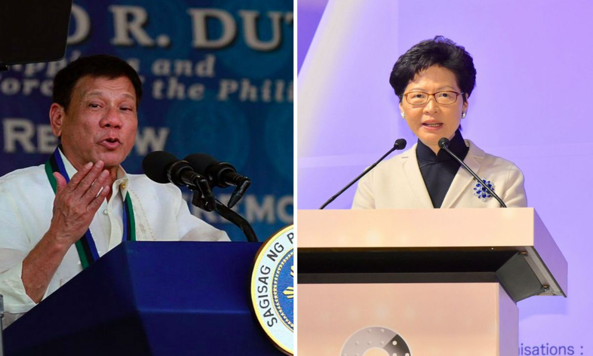 Philippines President Rodrigo Duterte (Left) and HK Chief Executive Carrie Lam. Photo: Wikimedia Commons/HK Government