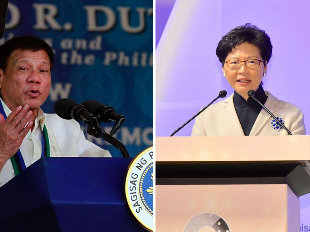 Philippines President Rodrigo Duterte (Left) and HK Chief Executive Carrie Lam. Photo: Wikimedia Commons/HK Government