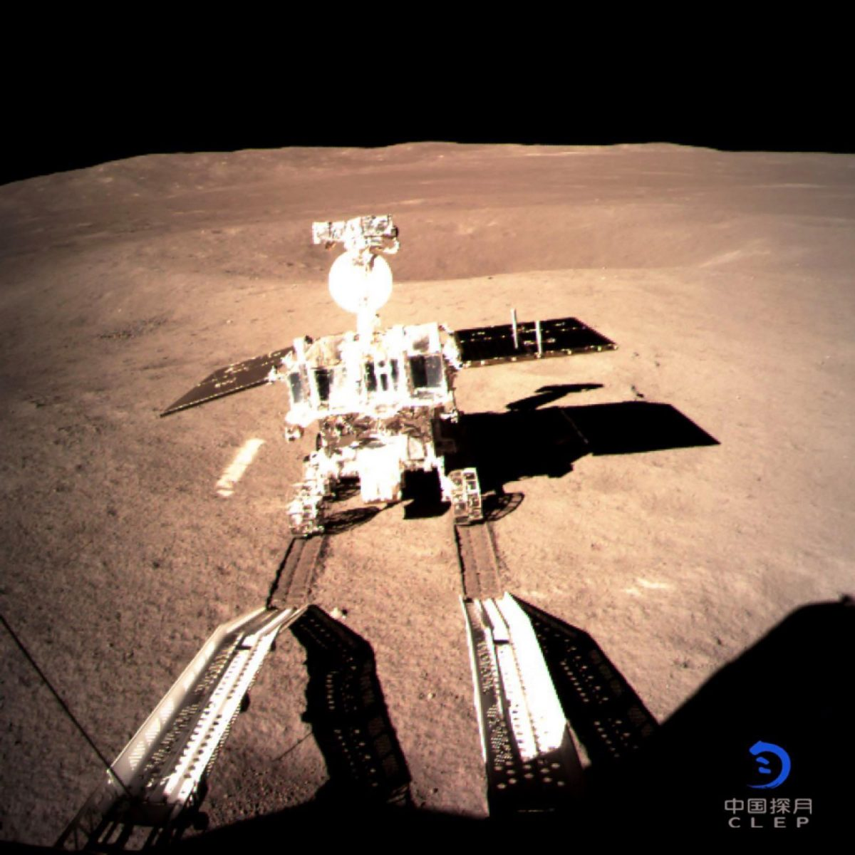 China's robotic lunar rover goes for a spin on the dark side of the moon. Photo: AFP/China National Space Administration