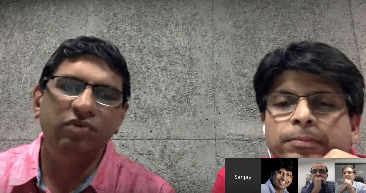 Screen grab of a Google hangout by Sanjay Jain, left, former chief product manager of Aadhaar and Pramod Varma, right, chief architect. Not surprisingly, they laud the benefits of India's digital ID program. Photo: YouTube