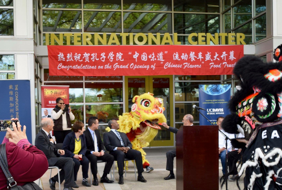 Chinese students and officials participate at a China-themed event on the UC Davis campus. Photo: Twitter