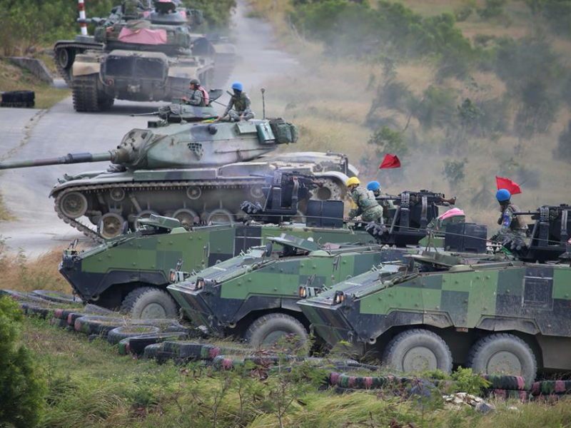 Armoured vehicles deployed during an anti-China invasion exercise by the Taiwanese Army. Photo: Handout