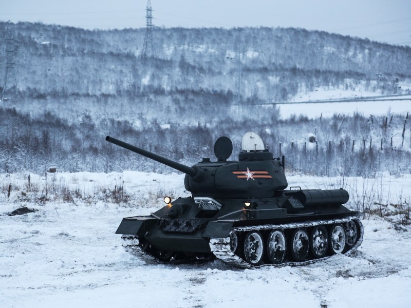 A Russian T-34 tank from the Northern Fleet historic military equipment unit from WWII (the Great Patriotic War), is seen during a performance at a training ground in Murmansk in 2017. Photo: Pavel Lvov / Sputnik