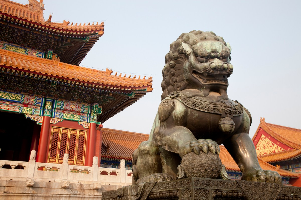 A Chinese guardian lion in the Forbidden City, Beijing. Intellectual and cultural traditions between the world's two superpowers differ greatly. Photo: iStock
