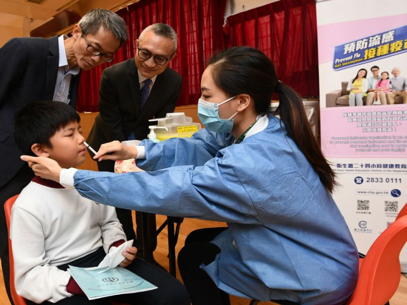 A pupil gets the seasonal influenza vaccination. Photo: HK Government