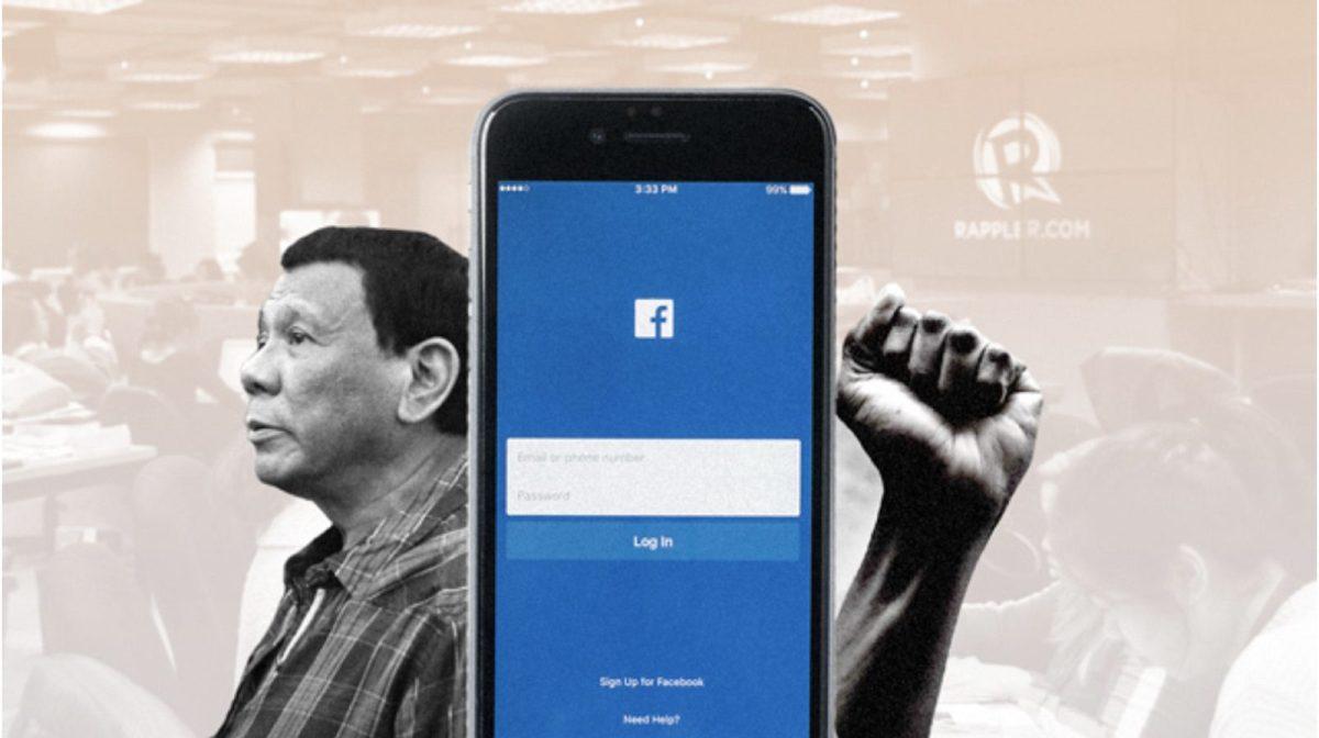 صورة مجمعة للرئيس الفلبيني «رودريغو دوتيرتي» وصفحة فيسبوك وقبضة غاضبة مرفوعة. صورة: فيسبوك/رابلر