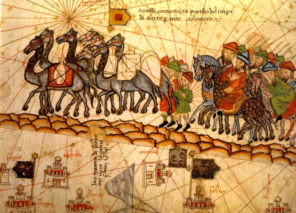 Catalan Atlas, detail showing family Of Marco Polo 1254-1324 traveling by camel caravan, 1375, drawing by Spanish School. Source: Wikimedia
