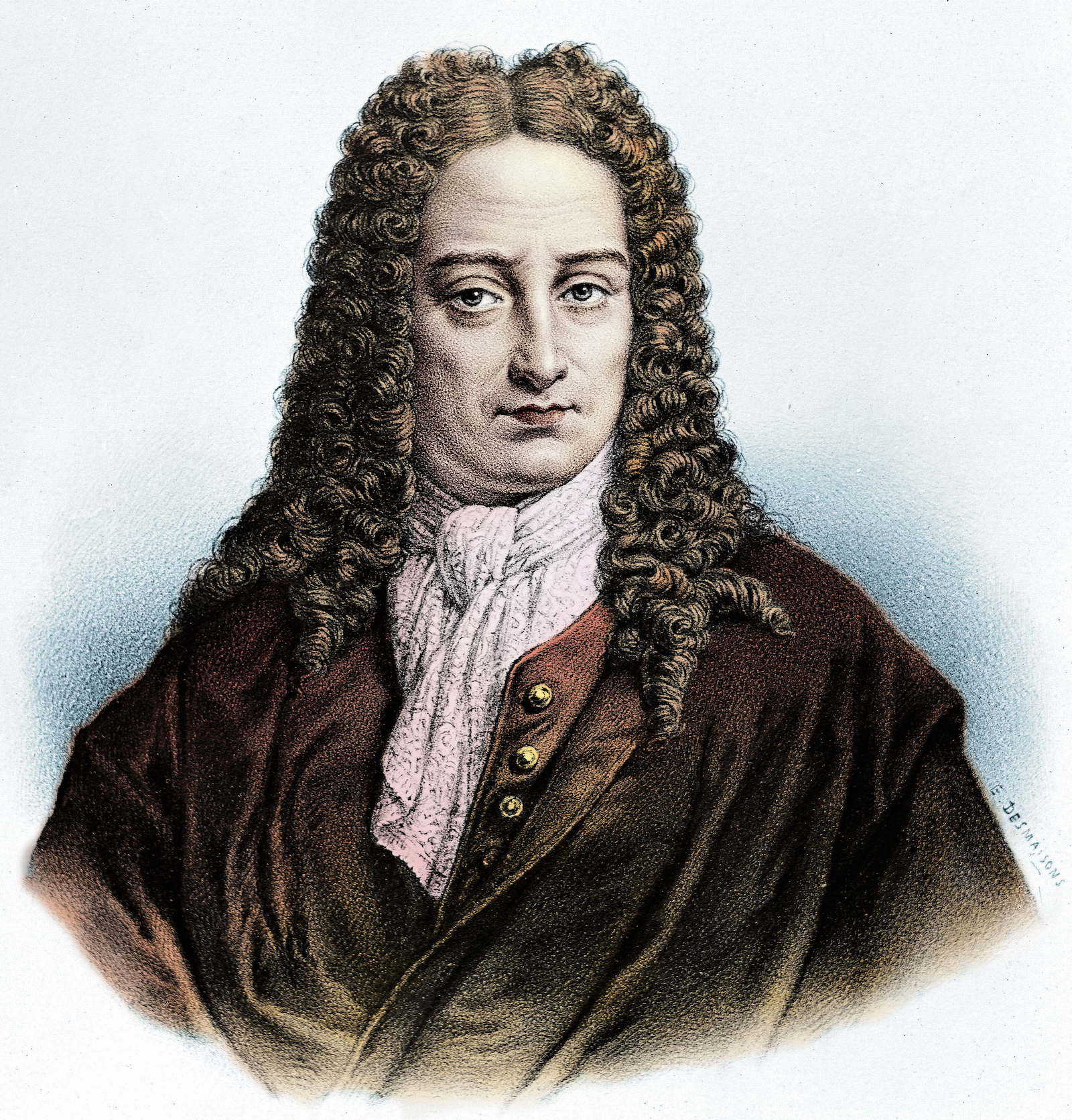 Gottfried Wilhelm Leibniz (1646-1716), philosopher and mathematician. Lithograph by Pierre-Emile Desmaisons (1812-1880). Photo: AFP / Roger Violette
