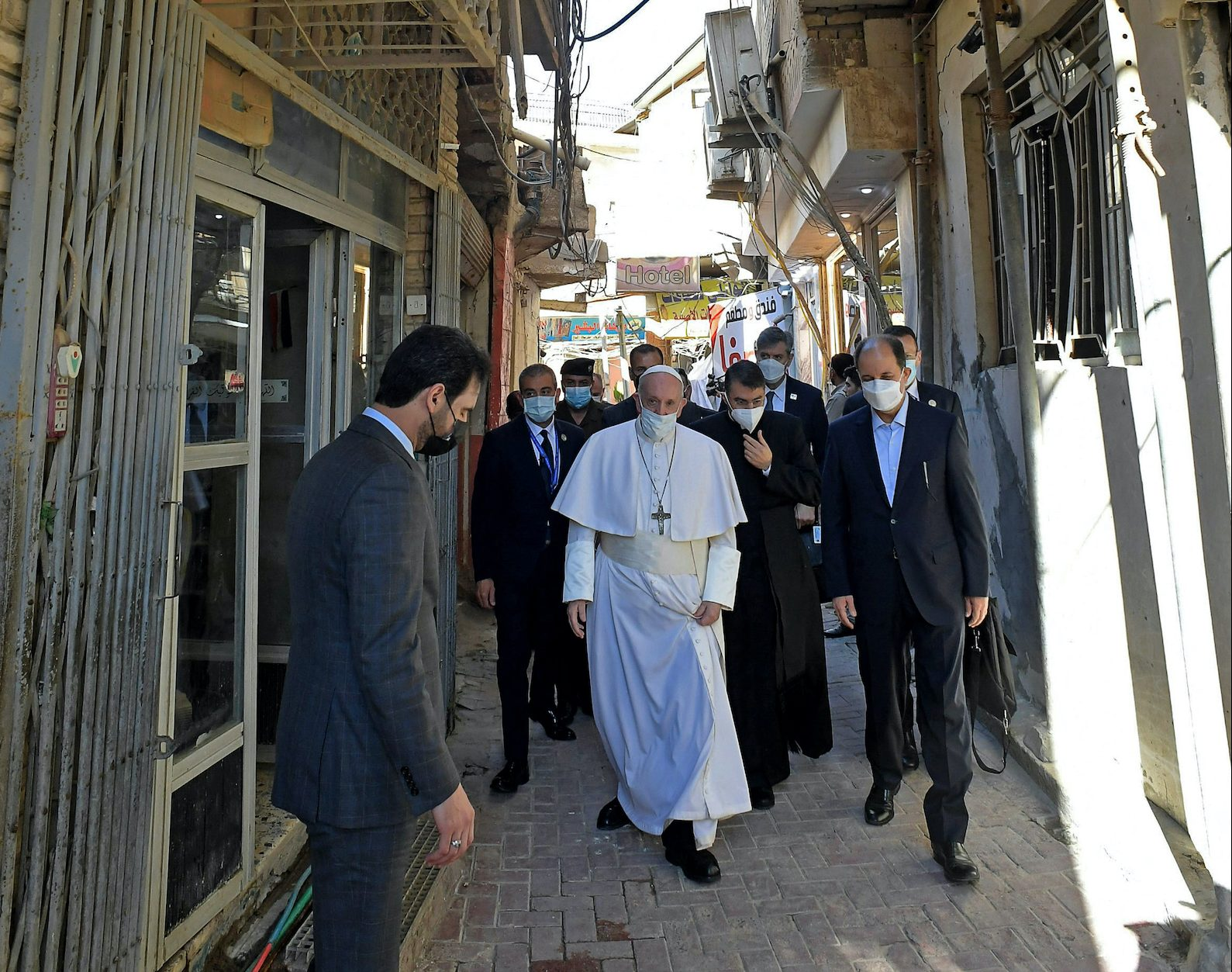 A handout picture provided by Sistani's Media Office shows Pope Francis arriving in the Iraqi shrine city of Najaf, on March 6, 2021. Photo: Ayatollah Sistani's Media Office/AFP/Stringer