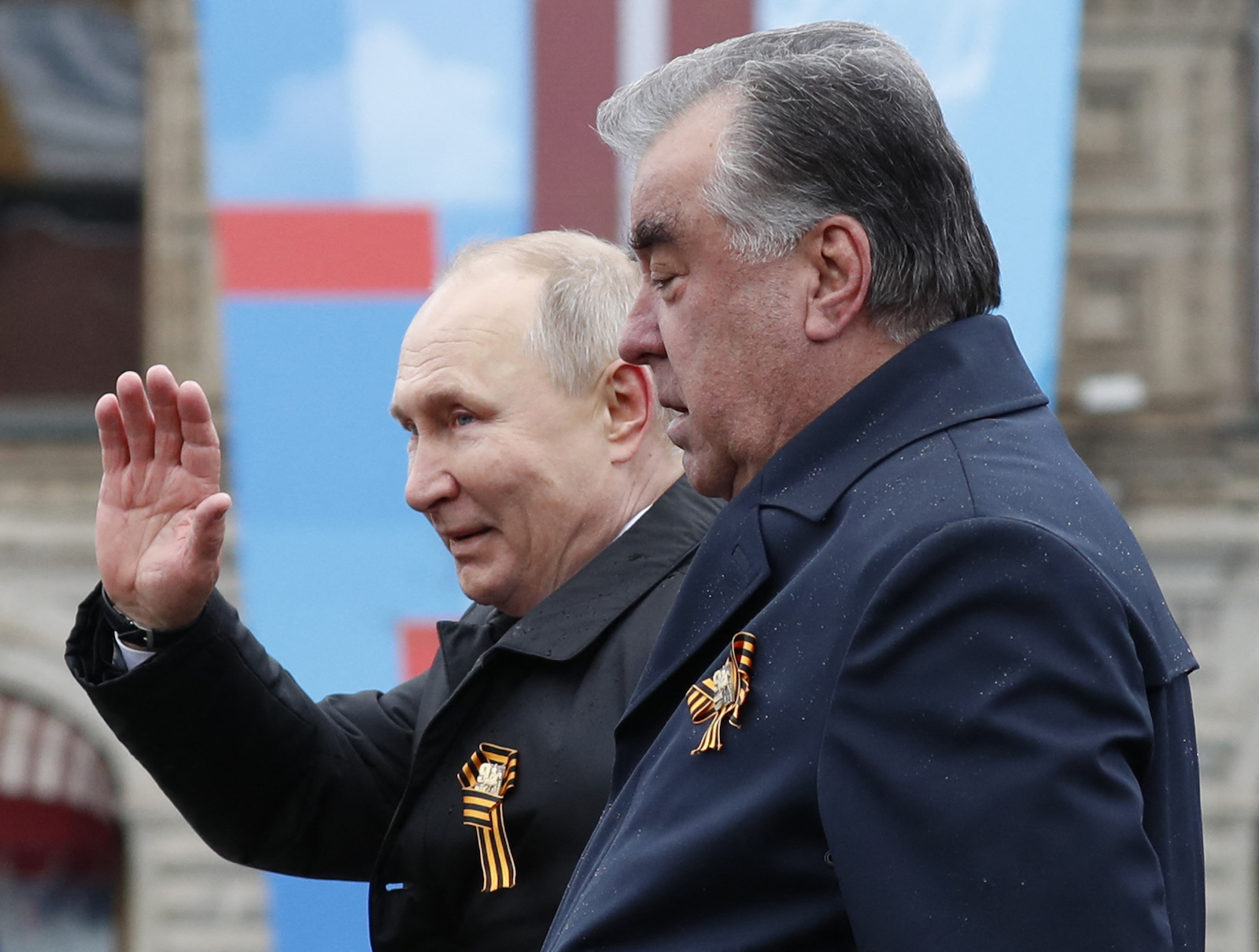 Russian President Vladimir Putin and Tajik President Emomali Rahmon leave after this year's Victory Day Parade on May 9, which marked the 76th anniversary of the victory over Nazi Germany in World War Two, in Red Square in central Moscow, Russia. Photo: AFP / Dmitry Astakhov / Sputnik