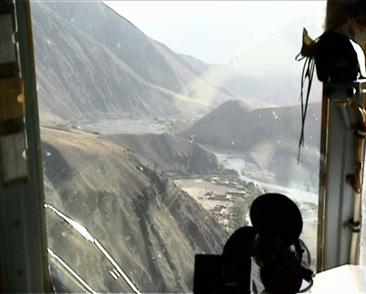 Arriving in the Panjshir valley in one of Massoud's Soviet helicopters in August 2001. Photo: Pepe Escobar