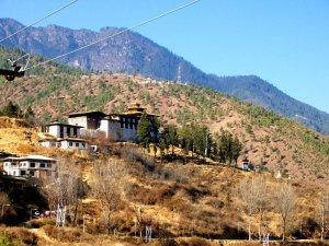 Looking back at one of the Best Places To Visit In Thimphu Bhutan, an ancient temple named Changangkha Lhakhang