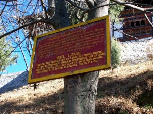 Welcome sign to one of the Best Places To Visit In Thimphu Bhutan, an ancient temple named Changangkha Lhakhang