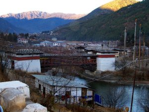 Cantilever Bridge next to Tashichho Dzong