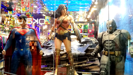 Best Places To Eat In Kuala Lumpur - DC Comics Super Heroes Store window displays the 3 titans - Superman, Wonder Woman & Batman