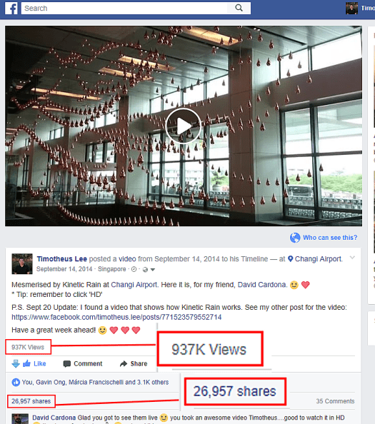 Things To See In Singapore - Changi Airport Kinetic Rain video went viral on Facebook, 937,000 views & 26,957 shares