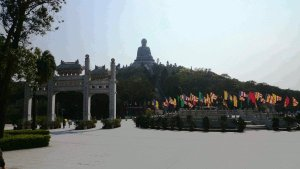 Good Food In Hong Kong - Pavilion and Gateway to Po Lin Monastery can be seen to be just across Tian Tan Buddha