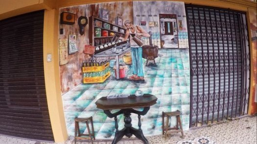 Things To Do In Ipoh - Mural Art of a local coffee shop and the original barista
