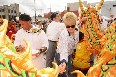 Commissioner Patty Sheehan did the eye dotting the Dragon at the Dragon Parade Lunar New Year Festival