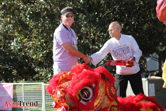 City of Orlando Mayor Buddy Dyer hosts the Awakening Lion ceremony with Wah Lum Temple Demo Team
