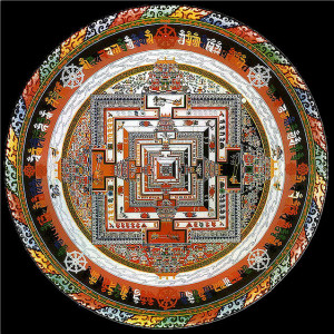 An example of a sand mandala, an artistic symbol of impermanence.