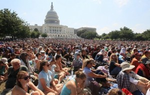 A World Peace Talk on the lawn of the US Capitol with thousands of people gathered to listen to His Holiness's message on compassion for humankind.