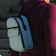 triple bottle bag skiphop in use as backpack