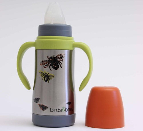 Bird & Bees by Earthlust, Stainless baby bottle