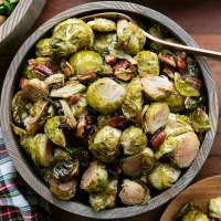 Maple Syrup Roasted Brussels Sprouts - Vegan Thanksgiving Side Dish