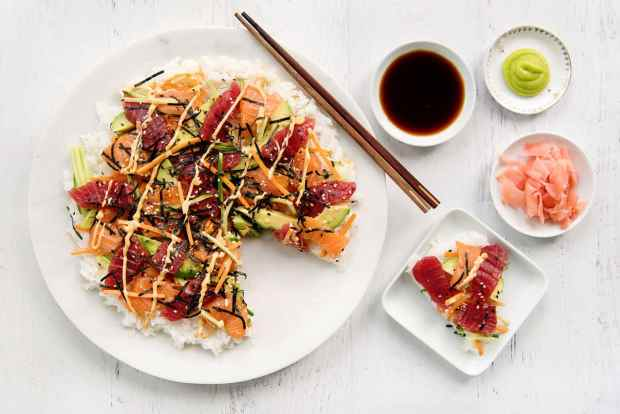 Sushi Healthy Salmon and Tuna Pizza Recipe Carrot Cucumber Ginger Wasabi Soy Sauce Avocado Nori