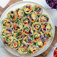 Rainbow Tortilla Pinwheels - Healthy Vegetarian Appetizer Recipe