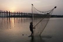 Fischer vor der U-Bein-Brücke - Amarapura