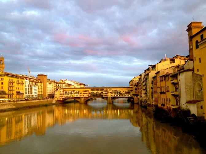 Ponte Vicchio, the sunset makes the colour more vibrant.
