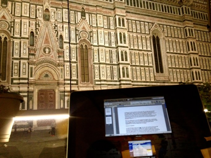 Working at a cafe in front of Duomo