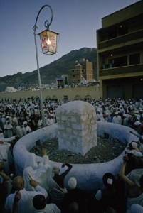 Meccan Pilgrims at stoning the devil ceremony