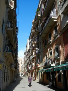 The streets of Barcalonetta are nearly as narrow as the Barri Gotic but with no inner courtyards to provide light
