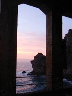 The sunset from the train station back at Manarola.