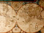 A map hung in the stair hall of one of the palazzos. Notice how unclearly defined the west coasts of the american continents are.