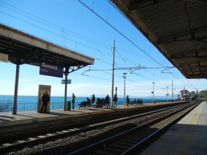 The train line runs right along the coast for most of the Riviera.